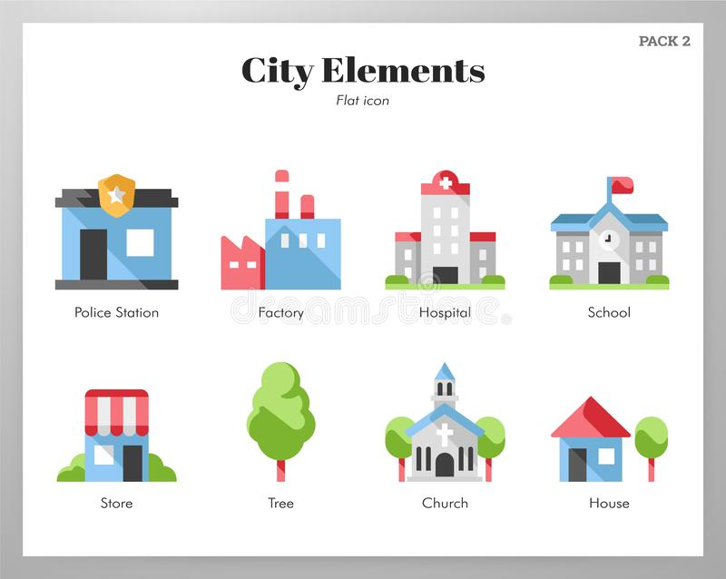 Пакет элементов города плоский иллюстрация штока
