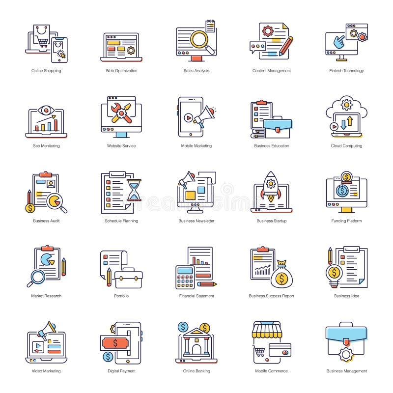 Пакет E Business Flat Icons иллюстрация штока