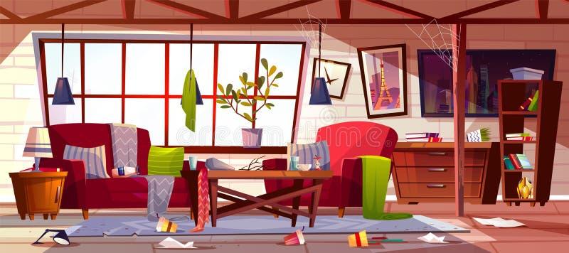 Пакостная квартира с разбросанным вектором одежд бесплатная иллюстрация