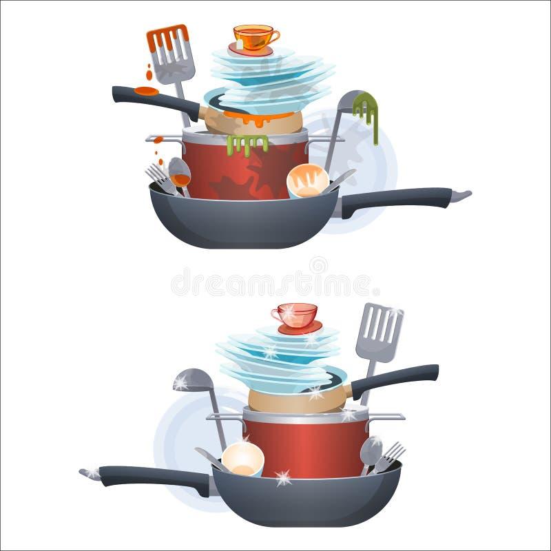Пакостные и чистые плиты блюд и лотки, столовый прибор кухни бесплатная иллюстрация