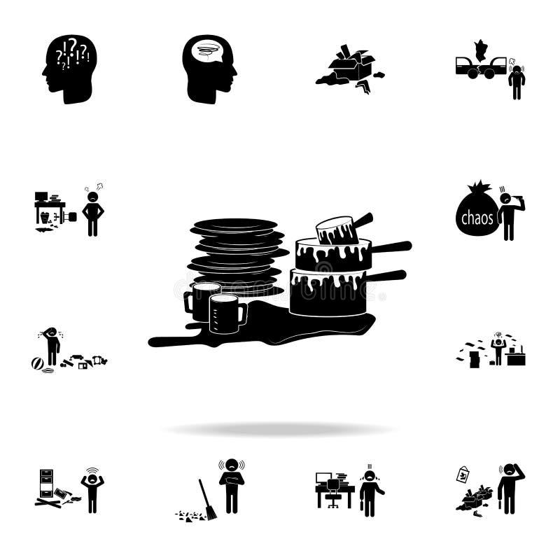 Пакостный значок блюд Детальный набор значков элемента хаоса Наградной графический дизайн Один из значков собрания для вебсайтов, иллюстрация вектора