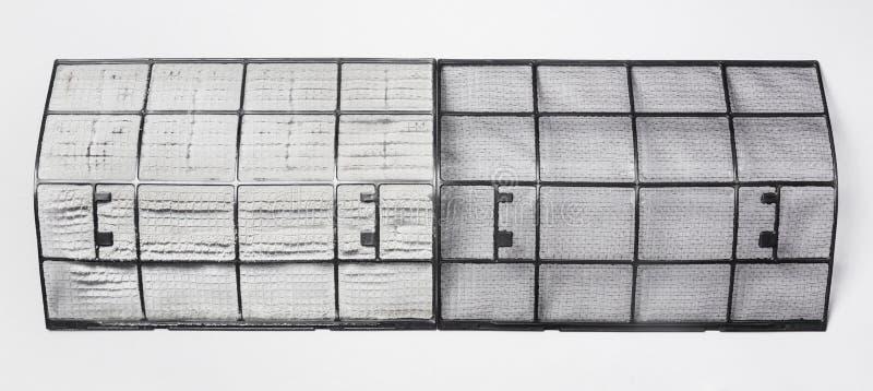 Пакостный и чистый фильтр кондиционера воздуха стоковые изображения