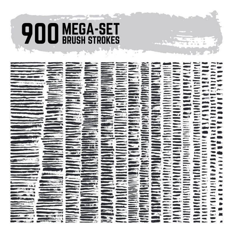 Пакостный покрытый краской комплект вектора brushstroke мега супер собрание 900 кистей Ходы текстуры Grunge черные иллюстрация штока