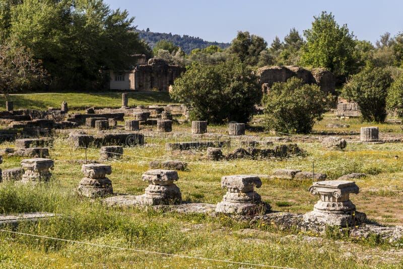 Палестра на Олимпии, Греции стоковое изображение