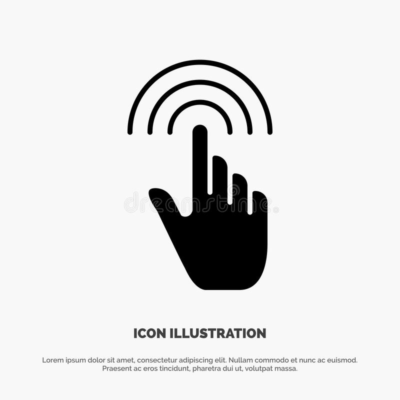 Палец, жесты, рука, интерфейс, вектор значка глифа крана твердый иллюстрация вектора