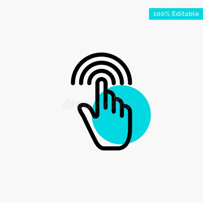Палец, жесты, рука, интерфейс, значок вектора пункта круга самого интересного бирюзы крана иллюстрация вектора