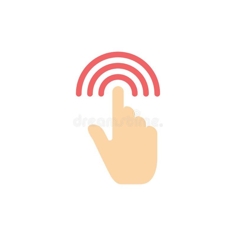 Палец, жесты, рука, интерфейс, значок цвета крана плоский Шаблон знамени значка вектора иллюстрация вектора