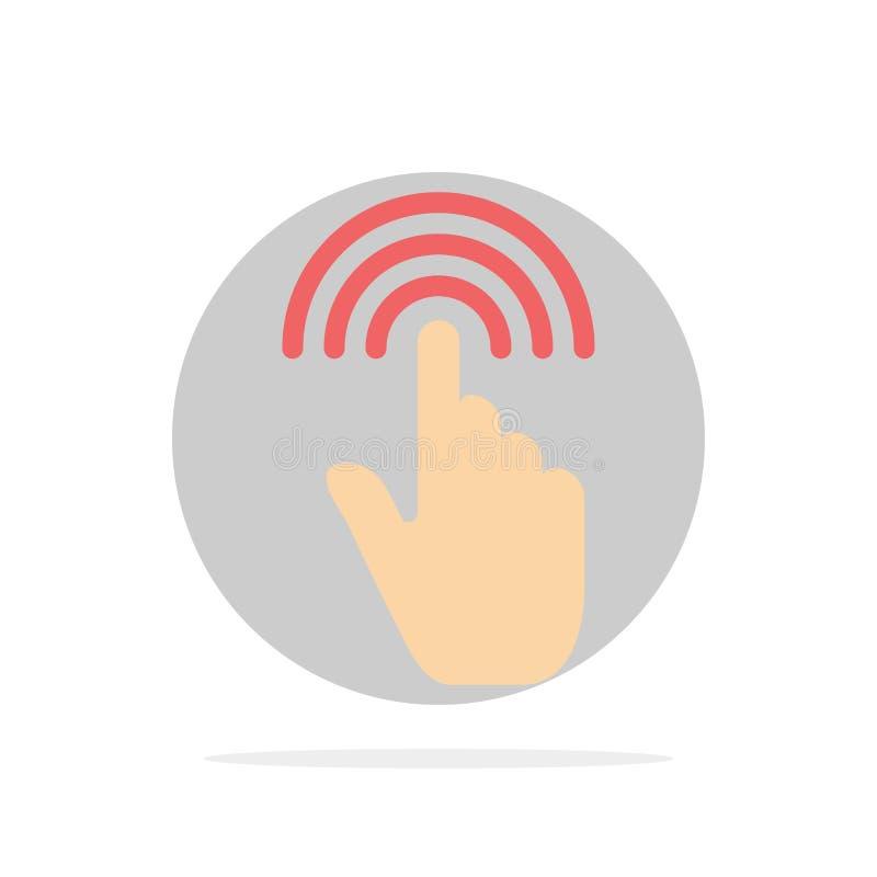 Палец, жесты, рука, интерфейс, значок цвета предпосылки круга конспекта крана плоский иллюстрация вектора