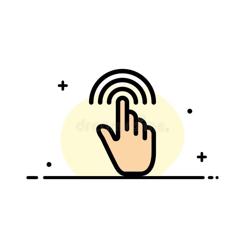 Палец, жесты, рука, интерфейс, линия дела крана плоская заполнил шаблон знамени вектора значка иллюстрация вектора
