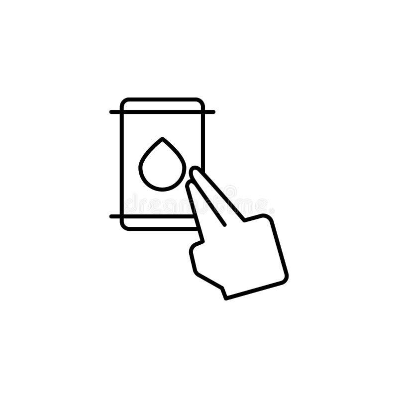 Палец, масло, жесты, значок касания Элемент значка коррупции Тонкая линия значок на белой предпосылке иллюстрация штока