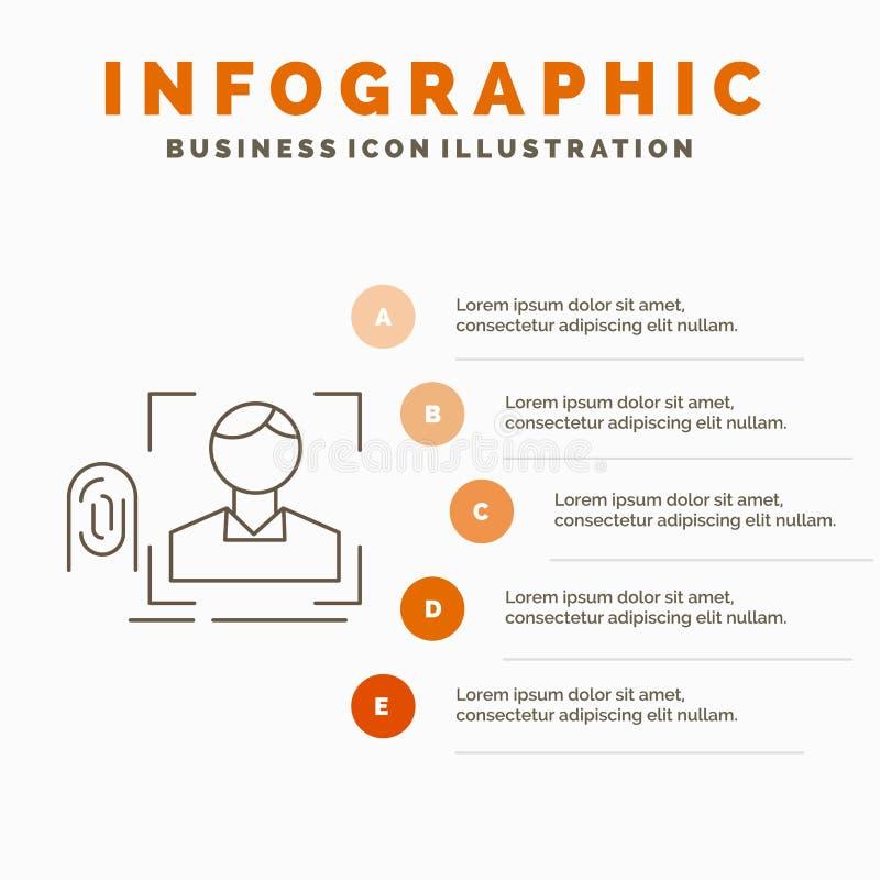 палец, отпечаток пальцев, опознавание, развертка, шаблон Infographics сканирования для вебсайта и представление r иллюстрация штока