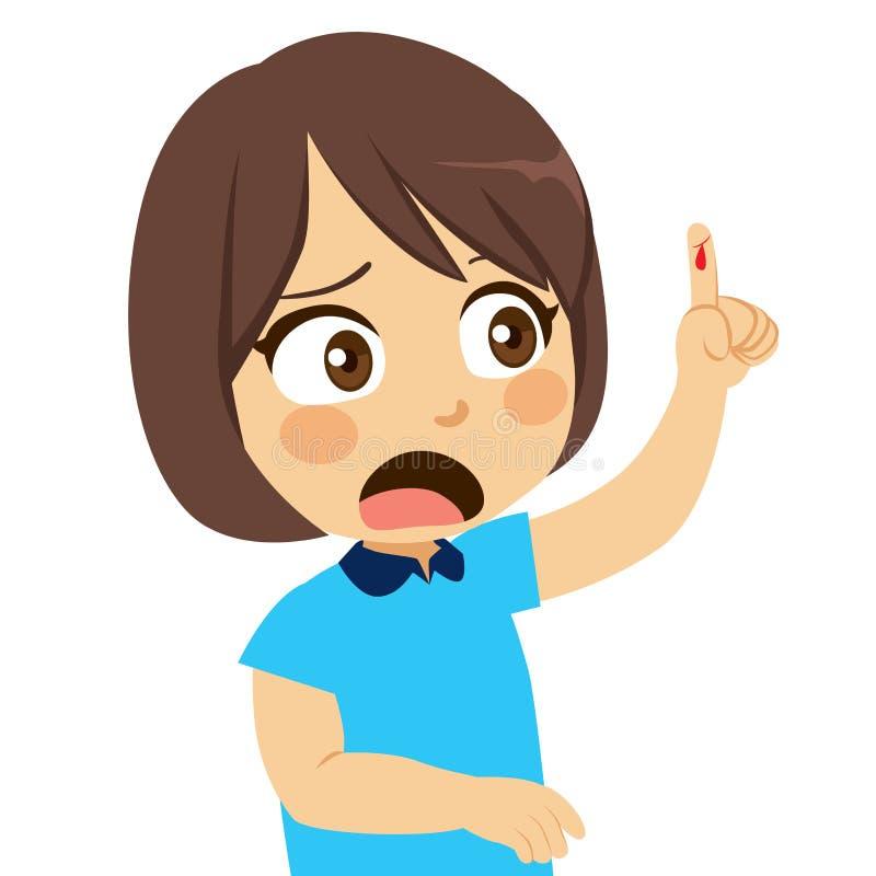 Палец отрезка девушки иллюстрация вектора