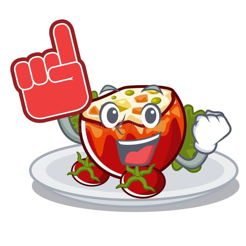 Палец пены заполнил томаты в форме мультфильма иллюстрация штока