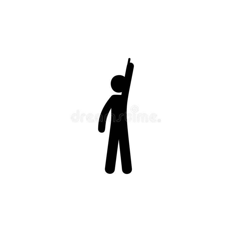 палец человека, значок неба Элемент человека указывая значок для передвижных apps концепции и сети Палец детального человека, зна иллюстрация штока
