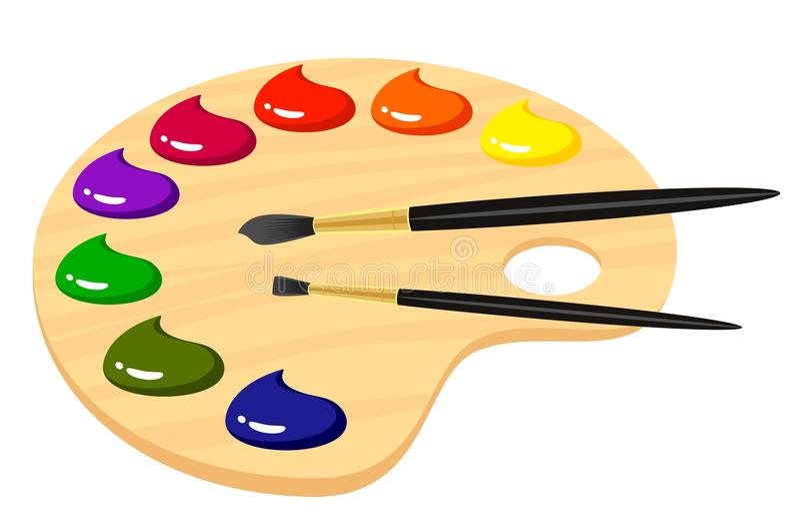палитра красок художников иллюстрация вектора