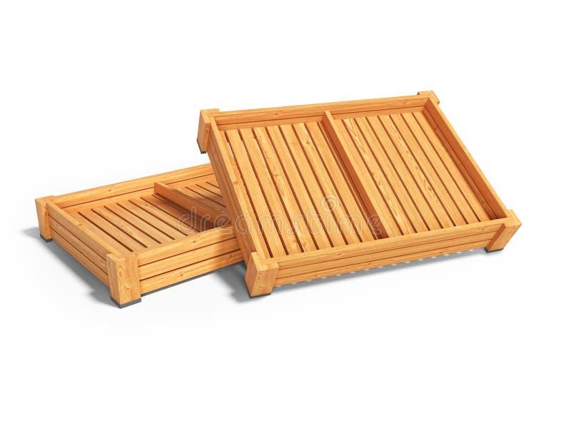 Паллеты деревянных коробок для представления овощей для продажи 3d представить на белой предпосылке с тенью иллюстрация вектора