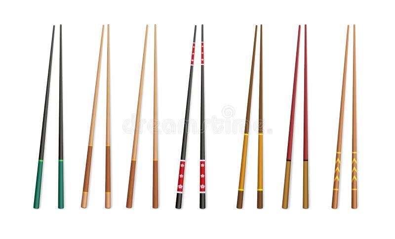 палочки 3d Азиатские традиционные бамбуковые и пластичные приборы для еды иллюстрация вектора