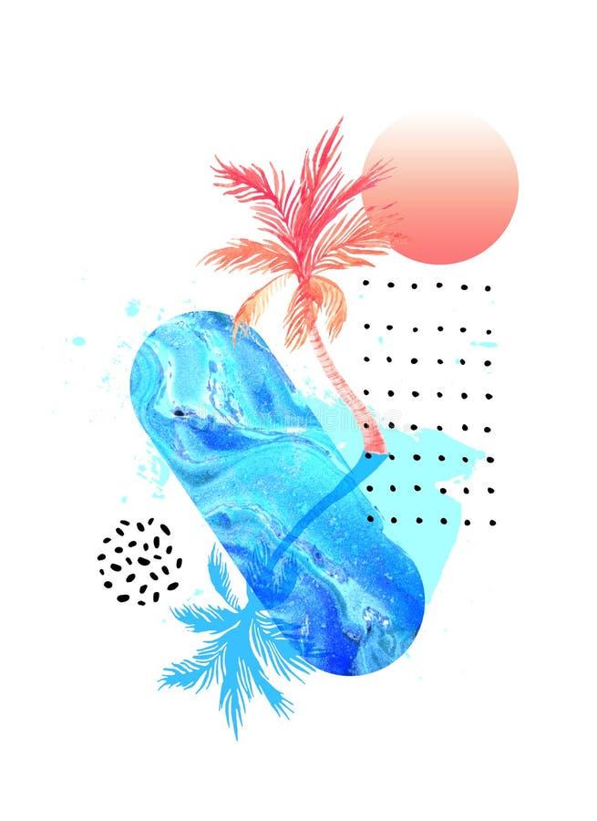 Пальма акварели с тенью, мраморной текстурой, brushstroke grunge иллюстрация вектора