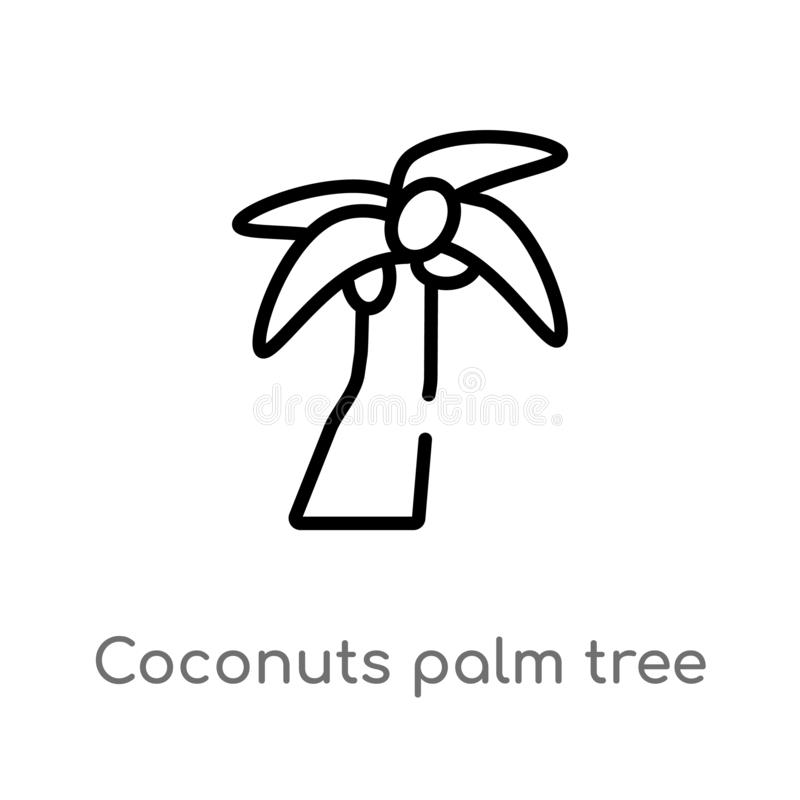 пальма кокосов плана значка вектора Бразилии изолированная черная простая линия иллюстрация элемента от концепции культуры editab бесплатная иллюстрация