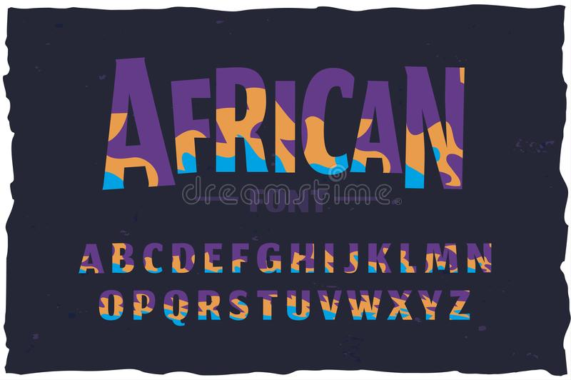 Пальмира вектора Смешной африканский шрифт стиля иллюстрация вектора