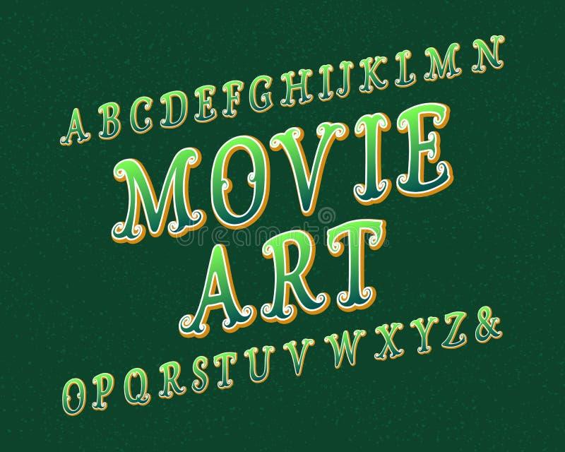 Пальмира искусства кино Художнический шрифт Изолированный английский алфавит иллюстрация вектора