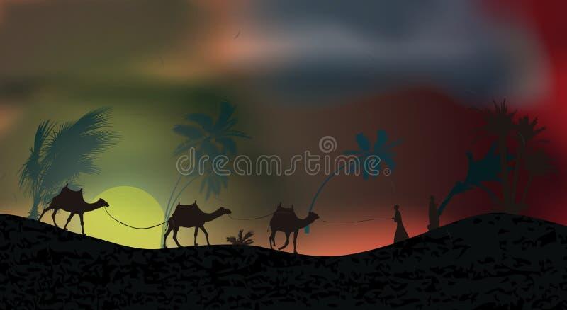 Пальмы во время шторма, урагана, песка и пыльных бурь в пустыне Листья летают через небо также вектор иллюстрации притяжки corel иллюстрация штока