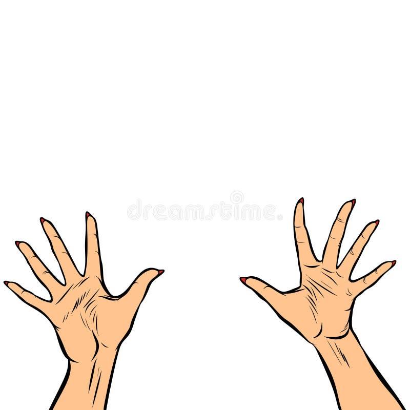 Пальцы высоко 5 рук женщины иллюстрация вектора