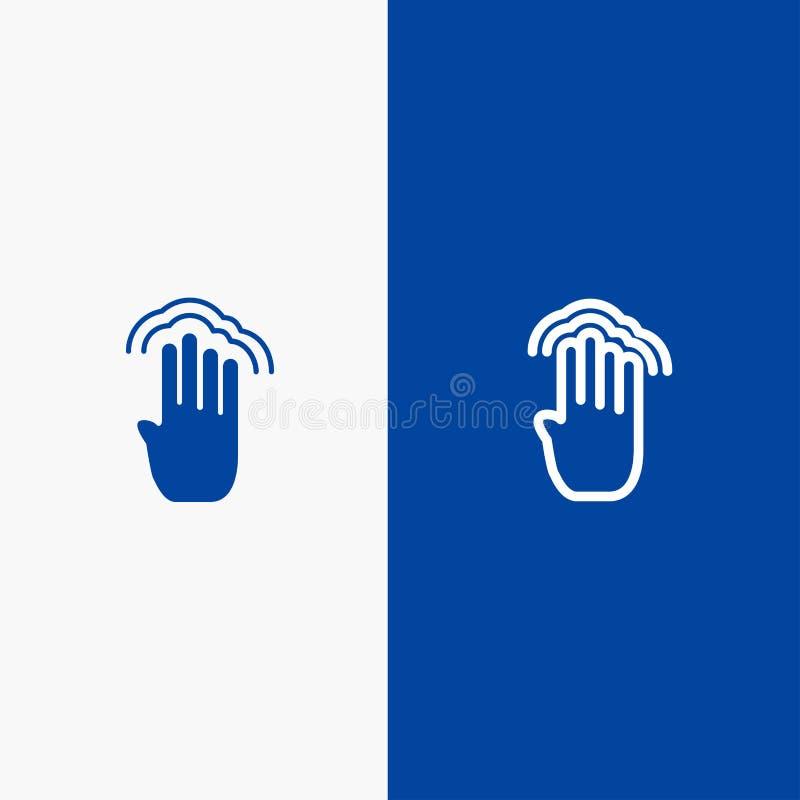 Пальцы, 4, жесты, интерфейс, значка линии и глифа знамени множественного значка линии крана и глифа твердого знамя голубого тверд иллюстрация вектора