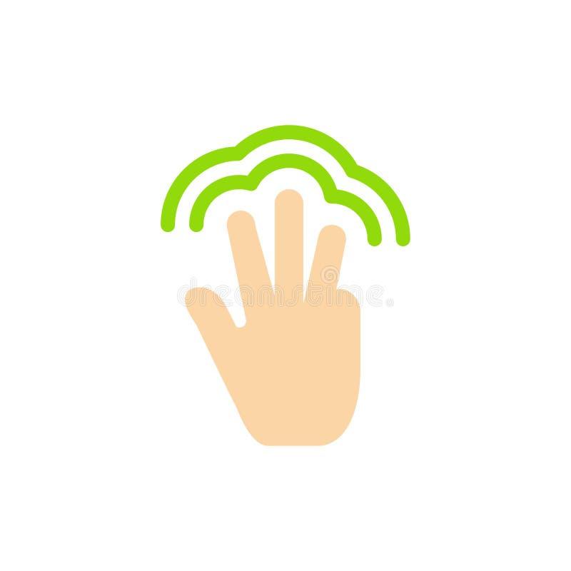 Пальцы, жесты, рука, интерфейс, значок цвета множественного касания плоский Шаблон знамени значка вектора иллюстрация штока