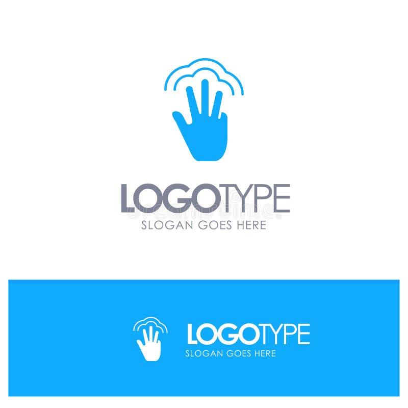 Пальцы, жесты, рука, интерфейс, логотип множественного касания голубой твердый с местом для слогана иллюстрация вектора