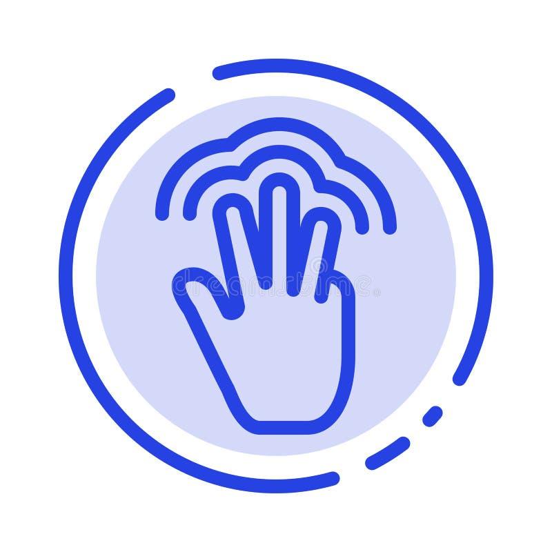 Пальцы, жесты, рука, интерфейс, множественная линия значок голубой пунктирной линии касания иллюстрация штока