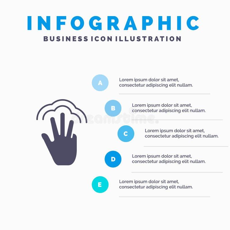 Пальцы, жесты, рука, интерфейс, предпосылка представления шагов Infographics 5 значка множественного касания твердая бесплатная иллюстрация