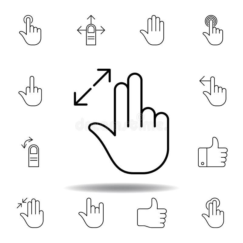 пальцы изменяют размеры вне значка плана жеста Установите иллюстрации gesturies руки E бесплатная иллюстрация