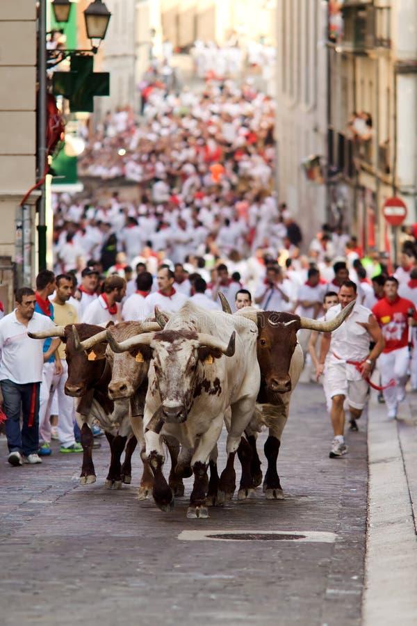 ПАМПЛОНА, ИСПАНИЯ 9-ОЕ ИЮЛЯ: Быки и люди бежать в улице во время s стоковые изображения rf