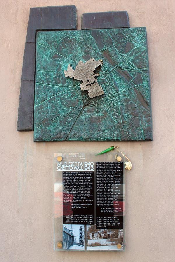Памятная доска предназначенная к бывшему гетто Варшавы еврейскому, Польше стоковое изображение rf
