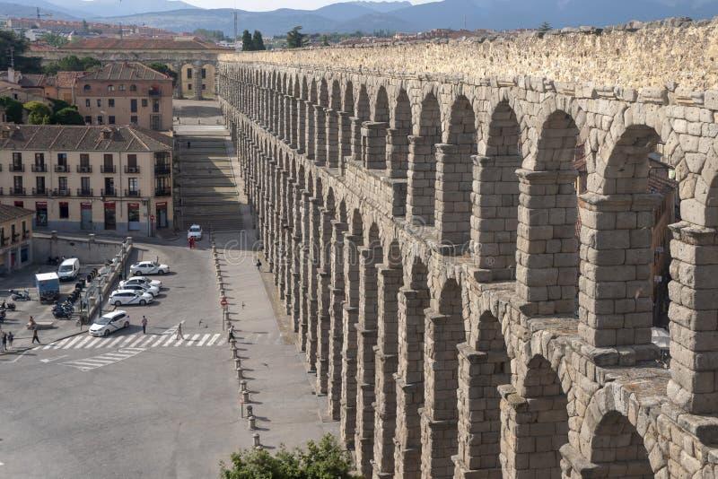 Памятники города Сеговии, римского мост-водовода, Испании стоковая фотография