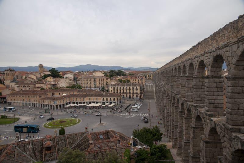 Памятники города Сеговии, римского мост-водовода, Испании стоковые фотографии rf