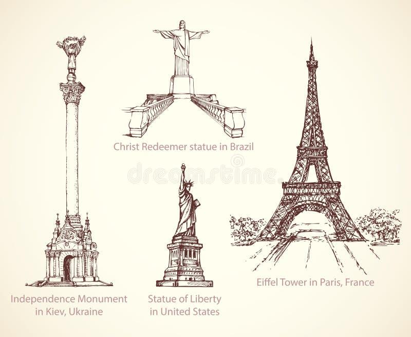 Памятники мира известные исторические Эскиз вектора бесплатная иллюстрация