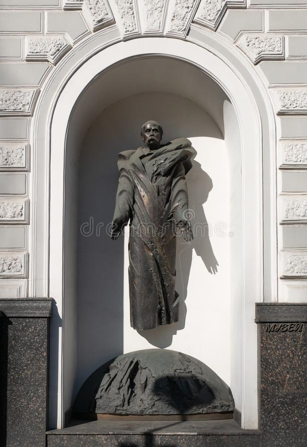 Памятник больших украинских поэта, писателя, художника, публики и политической фигуры Taras Shevchenko стоковые фотографии rf