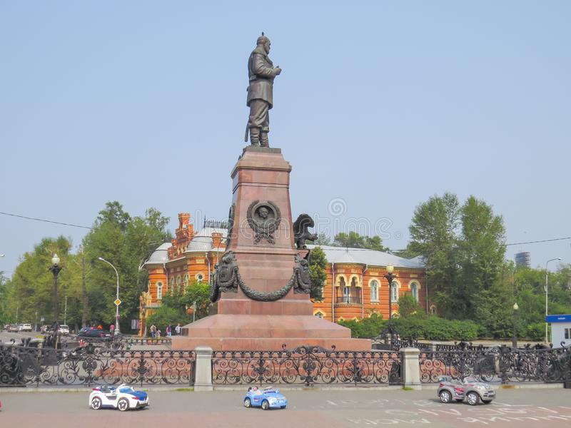 Памятник в Иркутске был раскрыт в честь русского императора Александра III в 1908 стоковая фотография