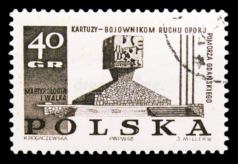 Памятник в Kartuzy, схватке и мученичестве польских людей, serie 1939-45, около 1968 стоковое фото