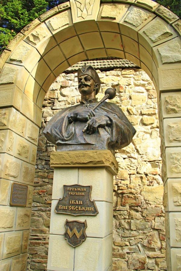 Памятник гетману Украины Иван Vyhovsky в деревне Manyava стоковое фото rf