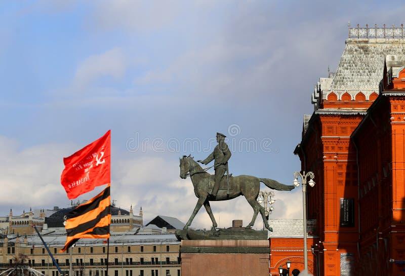 Памятник для маршалинга Zhukov в Москве на красной площади стоковое фото