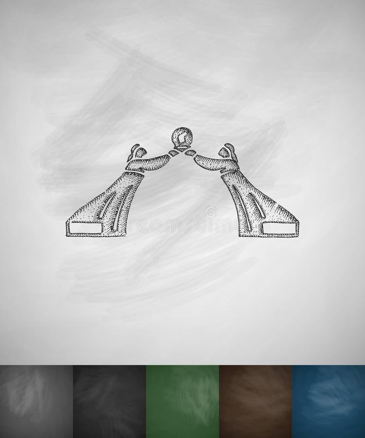 Памятник значка 3 хартий Нарисованная рукой иллюстрация вектора бесплатная иллюстрация