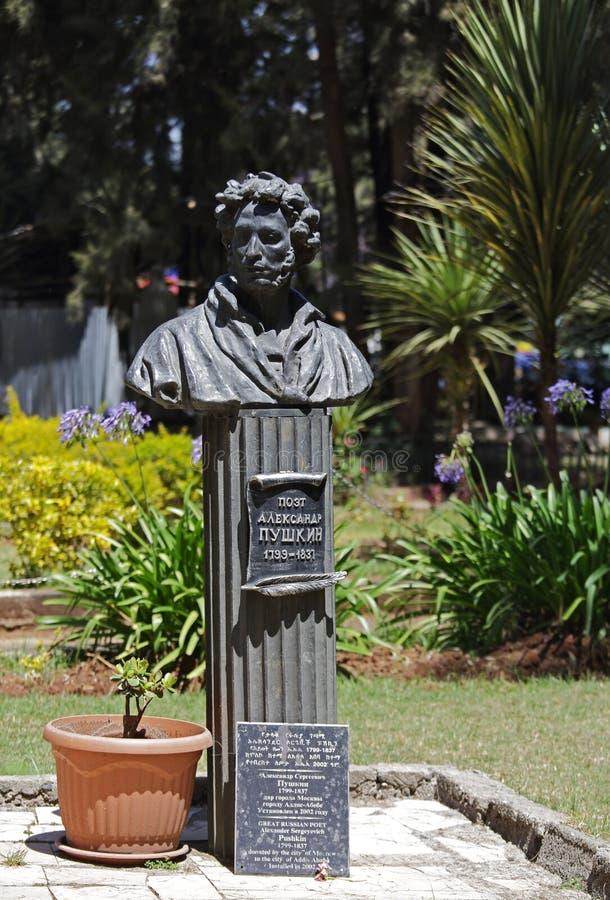 Памятник к известным русским поэту и писателю Александру Pushkin стоковое фото rf