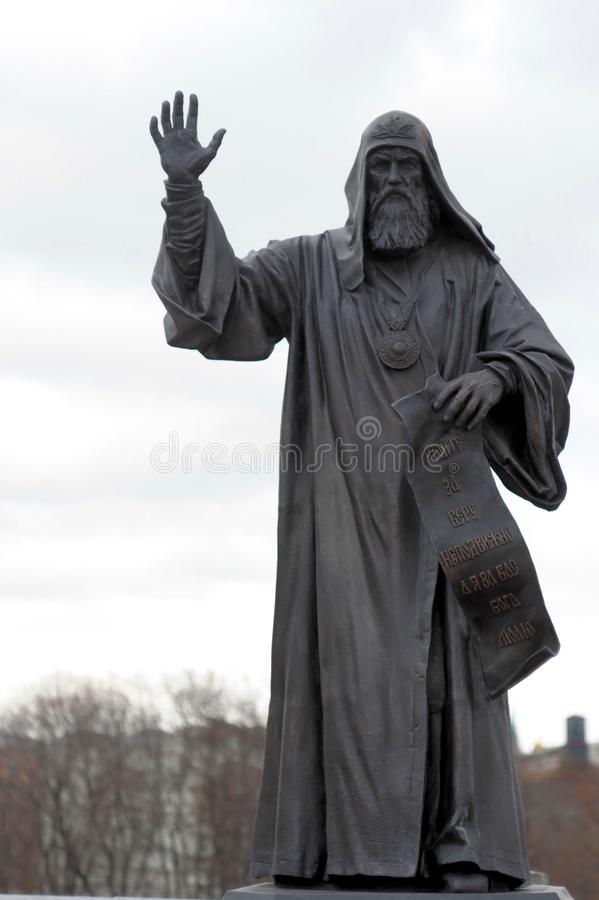 Памятник к патриарх Hermogen, комплексу собора Христоса спаситель, Москва, Россия стоковые фотографии rf