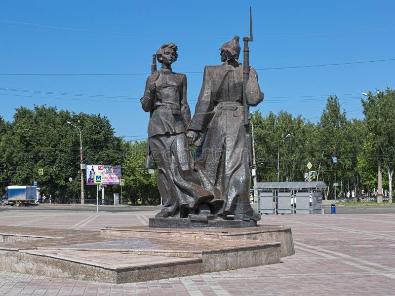 Памятник к первому Komsomolets Nizhny Tagil, России стоковые изображения rf