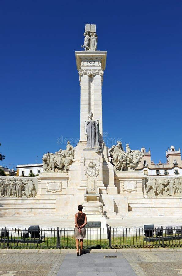Памятник к судам Кадиса, 1812 конституции, Андалусия, Испания стоковые изображения rf