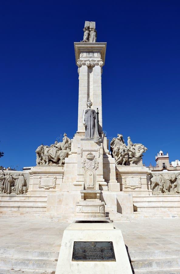 Памятник к судам Кадиса, 1812 конституции, Андалусия, Испания стоковое изображение rf