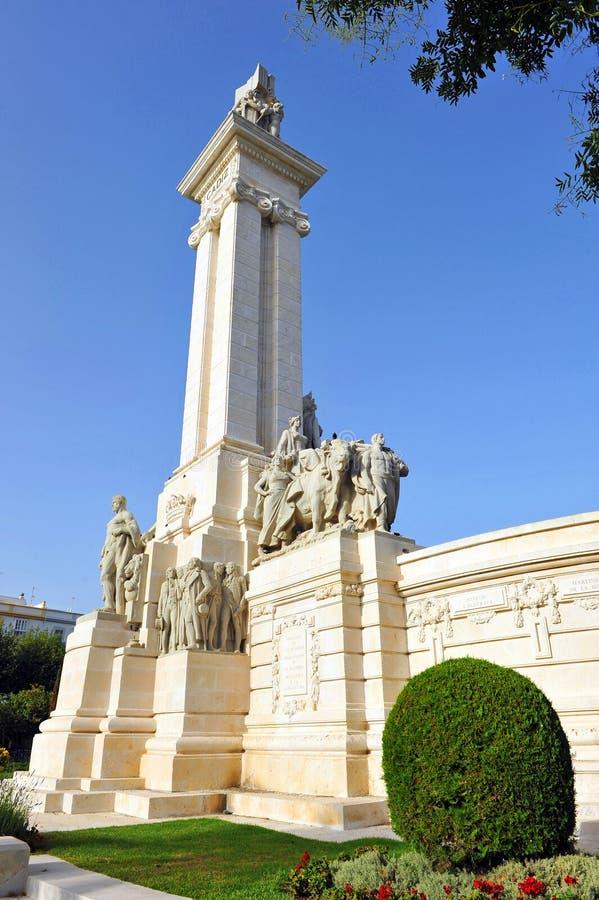 Памятник к судам Кадиса, 1812 конституции, Андалусия, Испания стоковая фотография rf